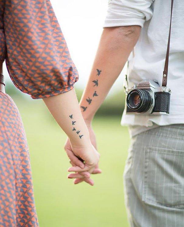 Tatuagem Casal Delicada, pássaros