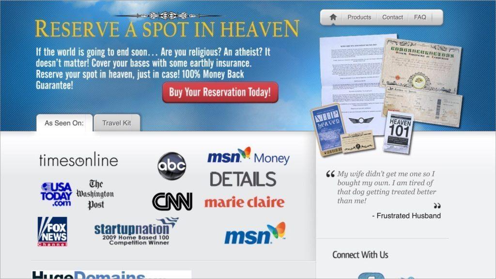 negocios inusitados reserve a spot in heaven