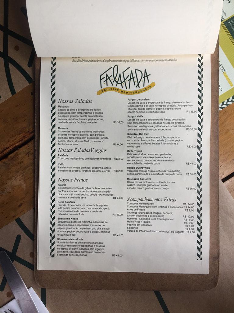 cardápio restaurante falafada