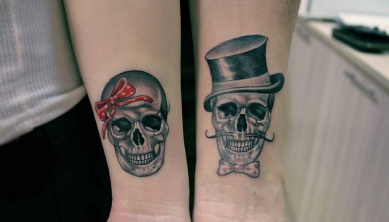 tatuagem casal caveira